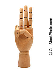 Wooden hand isolated on a white background