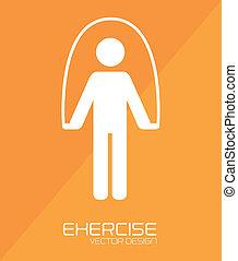 Fitness design over orange background, vector illustration