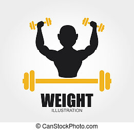 Weights design over gray background, vector illustration
