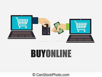 Buy online design over gray background, vector illustration