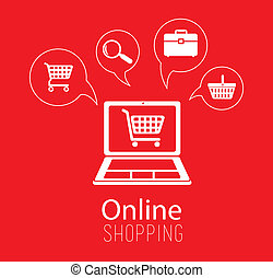 Buy online design over red background, vector illustration
