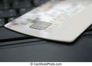 Credit card on a laptop