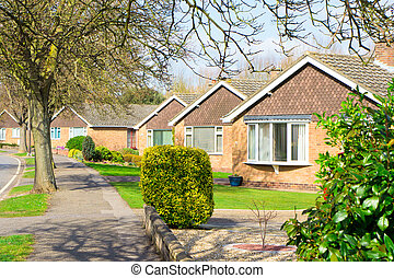 Bungalows in a suburban UK neighbourhood in spring