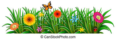 A garden with fresh blooming flowers, a butterfly and a...