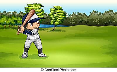 A boy playing baseball