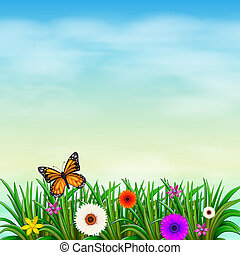 A garden with fresh flowers and a butterfly