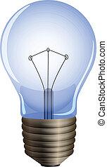 A blue light bulb - Illustration of a blue light bulb on a...