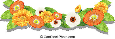 Fresh flowers - Illustration of the fresh flowers on a white...