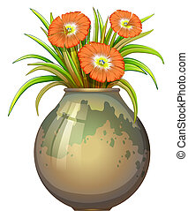 A big pot with flowers - Illustration of a big pot with...