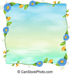 A blue empty template with flowers - Illustration of a blue...