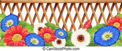 Colourfl flowers near the wooden fence - Illustration of the...