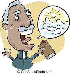 Preaching Minister - A cartoon church minister preaches a...