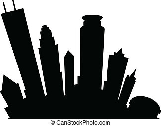 Minneapolis Silhouette - Cartoon skyline silhouette of the...