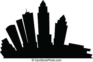 Cartoon Tampa - Cartoon skyline silhouette of the city of...