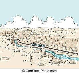 Canyon Train - A cartoon train travelling through a desert...