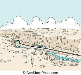Canyon Train - A cartoon train travelling through a desert...