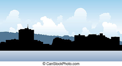 Dartmouth, Nova Scotia - Skyline silhouette of the city of...
