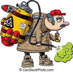 Pest Exterminator - A cartoon pest exterminator spraying...