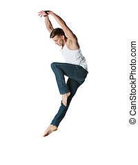 Caucasian male dancer - Adult male dancer wearing a white...