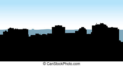 Halifax Skyline - Skyline silhouette of the city of Halifax,...