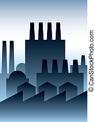 Industry Buildings - Industrial buildings in a cartoon, art...