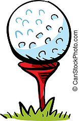 Golf Ball - A cartoon golf ball on top of a tee, ready to...