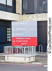 Hospital sign - Sign for heart attach center at a british...