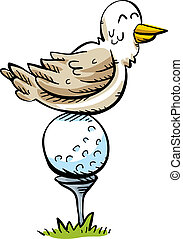 Golf Ball Bird Perch - A happy cartoon bird rests, perched...