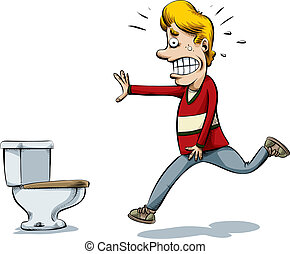 Running to Pee - A cartoon man runs to to the toilet to pee