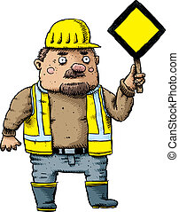 Construction Worker with Sign