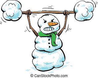 Strong Snowman Workout - A strong, cartoon snowman working...