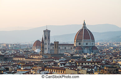 Aerial view of Piazza del Duomo in Florence.