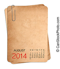 2014 Calendar on the Empty old photo with Paper clip
