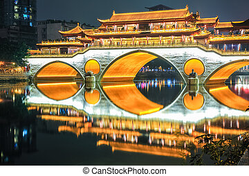 beautiful chengdu anshun bridge closeup - closeup of chengdu...