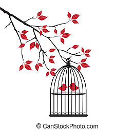 love birds - vector love birds in the tree branch
