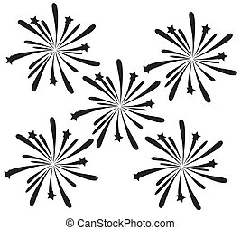 fireworks - vector black fireworks