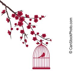 red bird - vector red bird in cage in the floral branch