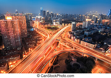 modern city viaduct junction at night