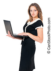 Woman with laptop - Beautiful business woman with laptop,...
