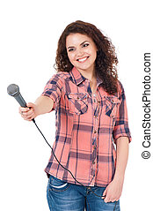 Young woman reporter holding a microphone, isolated on white...