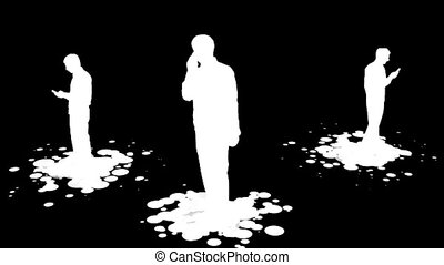 Stock Footage Silhouetted Business men