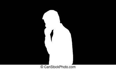 Business Man on the Phone - Stock Footage of a Silhouetted...