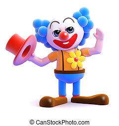 3d Hats off to the clown - 3d render of a clown taking his...