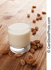 Almond milk - Delicious almond milk Vegan milk drinking