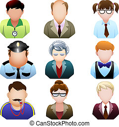 School people icon set - A collection of nine icons...