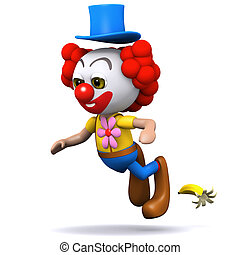 3d Clown slips up - 3d render of a clown slipping on a...
