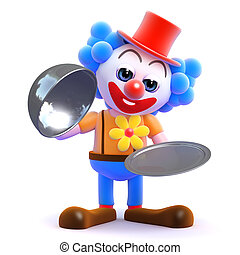 3d Silver service clown - 3d render of a clown with a silver...