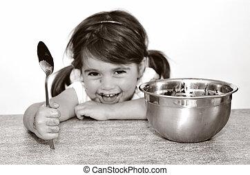 poco, obteniendo, agarrado, todos, chocolate, acabado, niña,...