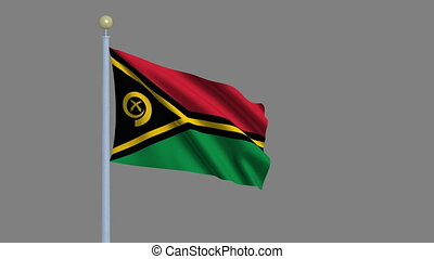 Flag of Vanuatu waving in the wind with flagpole - very...