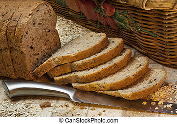 Whole Grain Bread - Slices of whole grain farmhouse bread